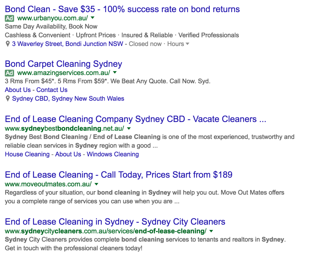 General search result example