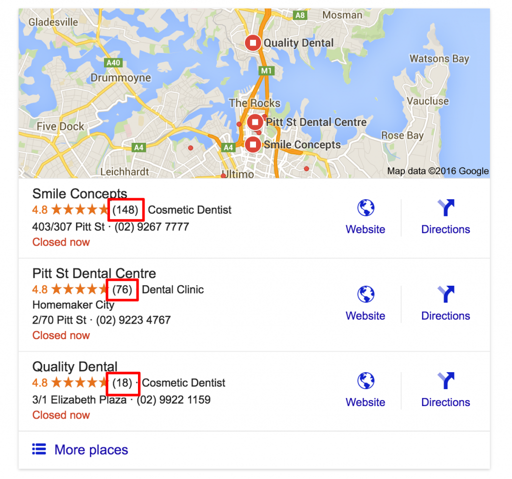 Example of reviews influencing local SEO results