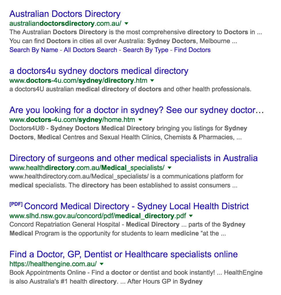 Search results for niche specific business directories