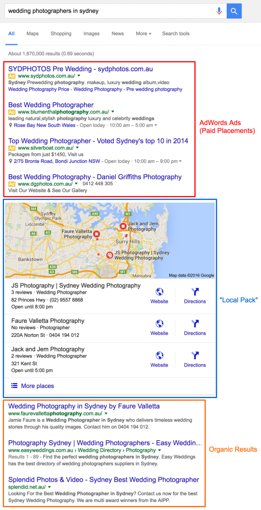 Labelled search result example